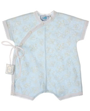 R: Sottocoperta Blue And White Romper With Kids Print And Side Tie