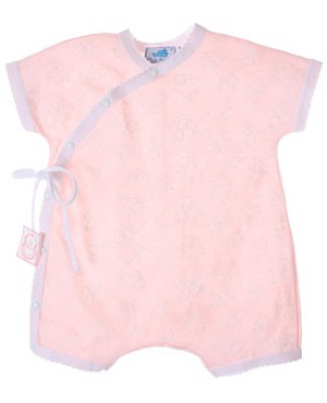 R: Sottocoperta Pink And White Romper With Kids Print And Side Tie