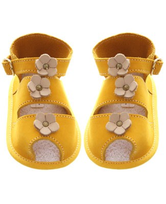 R: Yellow Soft Leather Booties With Flowers