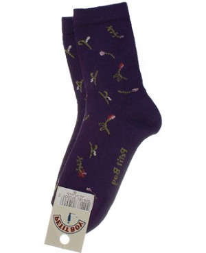R:  Petit Boy Purple Floral Socks
