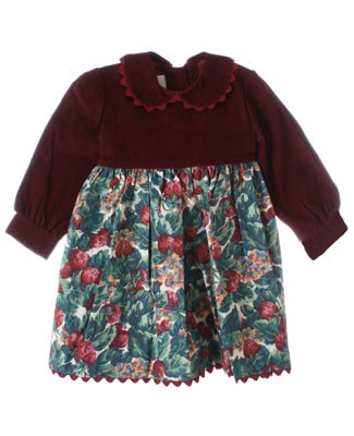 R: Cate Sud Burgandy Dress With French Strawberry Print