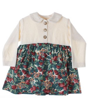 R: Cate Sud Cream Dress With French Strawberry Print