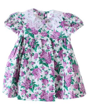 R: Wee Clancy Lilac Print Ruffles and Lace Dress