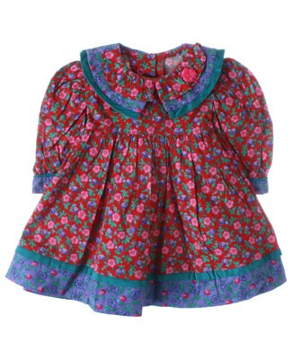 R: Wee  Clancy Red, Green And Blue Floral Print Dress