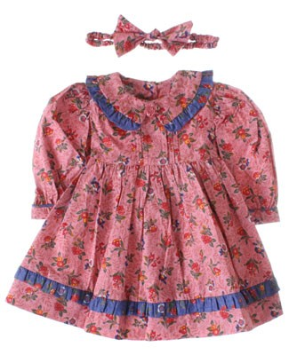 R: Wee  Clancy Pink And Blue Floral Print Dress With Matching Headband