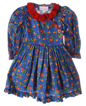 R: Wee  Clancy Blue Floral And Acorn Print Dress