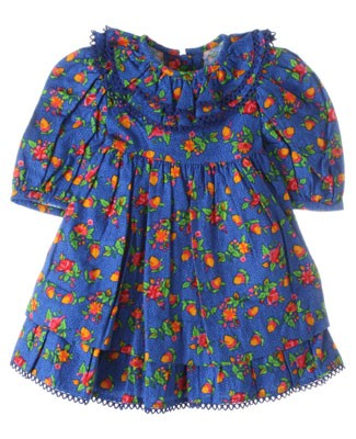 R: Wee  Clancy Blue Acorn And Floral Print Dress With Ruffle Collar