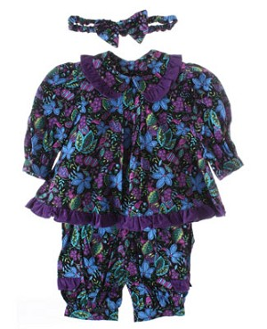 R: Wee  Clancy Black And Purple Swing Top With Matching Pants and Headband