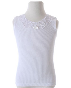 R: Creation Stummer Ribbed White Camisole With Lace