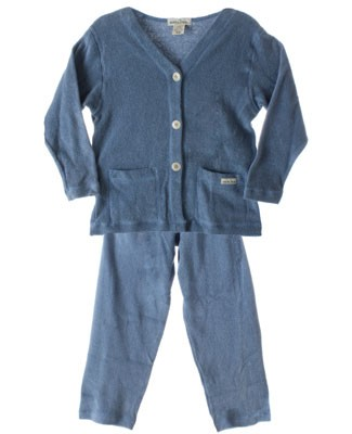 R: Earthlings Organic Blue Button Up Cardigan And Pant Set