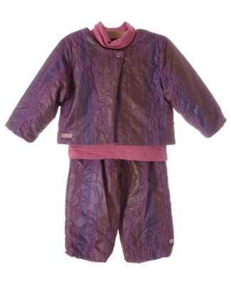 R: Contre Vents Et Marees Shiny Purple Polyester Jacket And Pants With Cotton Shirt