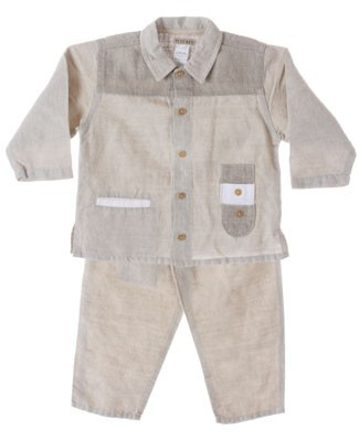 R: Petit Boy L/S khaki Linen Button Up Shirt And Pant Set