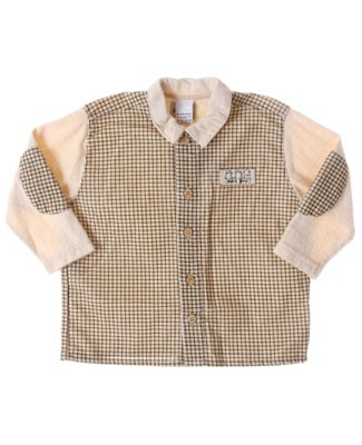 R: Petit Boy L/S Cream With Gingham Button Up Shirt