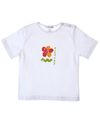 R: Miss Petit Boy White S/S Shirt With Flower