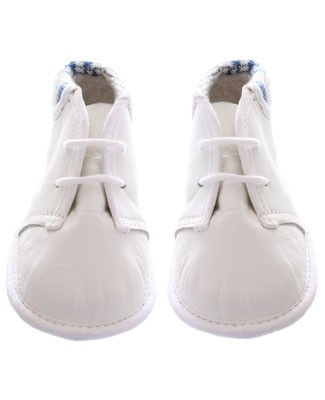 R: White Bootie With Navy Trim