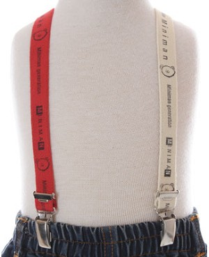 R: Miniman Bright  Red And Cream Suspenders