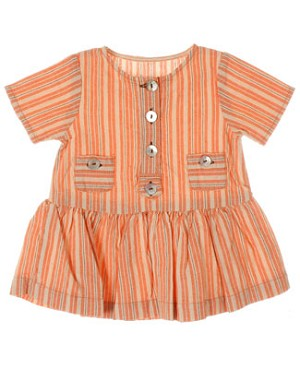 R: Contre Vents et Marees Orange, Grey And Cream Striped S/S Dress