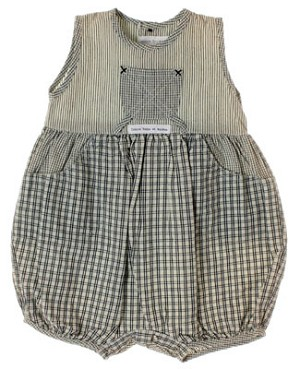 R: Contre Vents et Marees Grey And Cream Striped Sleeveless Romper