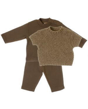 R: Contre Vents et Marees 3pc Light Brown Sweater, L/S Shirt And Pant