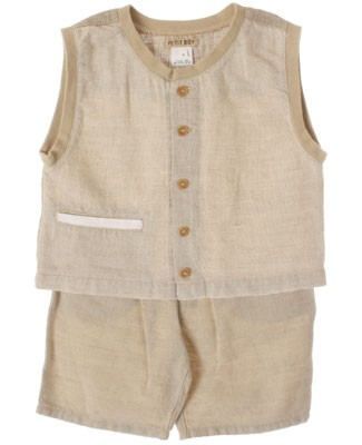 R: Petit Boy Khaki Linen Sleeveless Shirt and Short Set