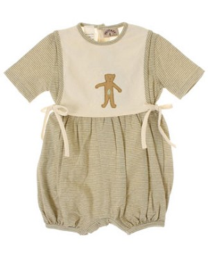 R: Miss Petit Boy Sage And Cream Striped Side Tie Overlay Romper