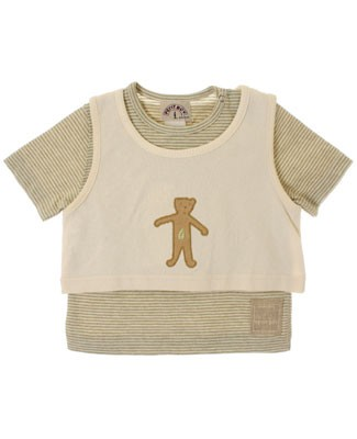R: Miss Petit Boy Sage And Cream Striped 2pc Shirt Set