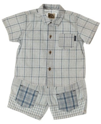 R: Petit Boy Navy Plaid Shirt and Short Set