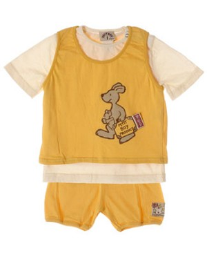 R: Petit Boy Cream Shirt, Yellow Tank and Short Set