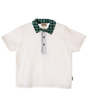 R: Petit Boy White Shirt With Plaid Collar