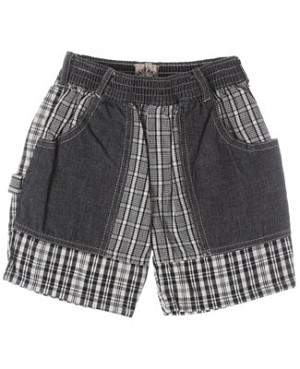 R: Petit Boy Black And White Plaid Shorts