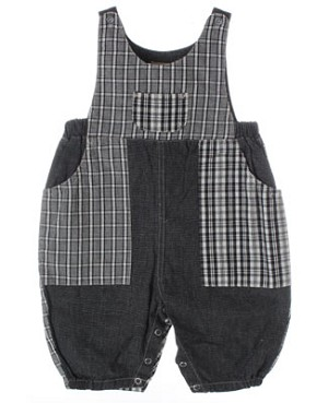 R: Petit Boy Black And White Plaid Romper