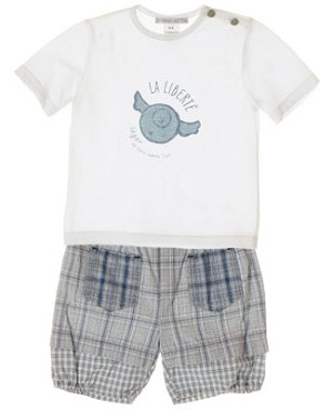 R: Petit Boy White Shirt And Blue Plaid Shorts
