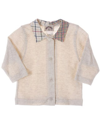 R: Petit Boy Cream L/S Ribbed Shirt With Plaid Collar