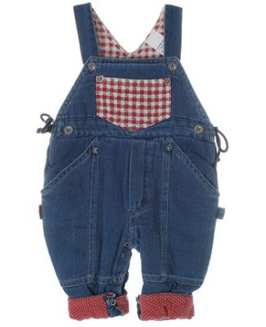 R: Petit Boy Blue Denim Overall With Red Pockets