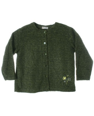 R: Alphabet Green L/S  Sweater With White And Yellow Flowers
