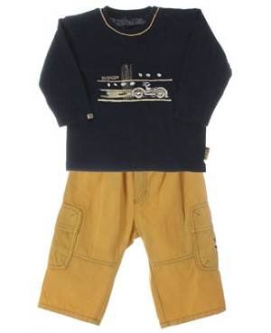 R: Pampolina Boys Navy Top And Yellow Pant Set