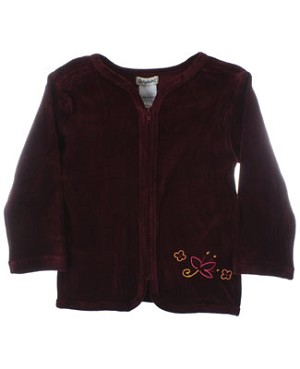 R: Alphabet L/S Burgundy Zip Up Lightweight Jacket