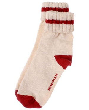 R: Miniman Cream Socks With Red Accents