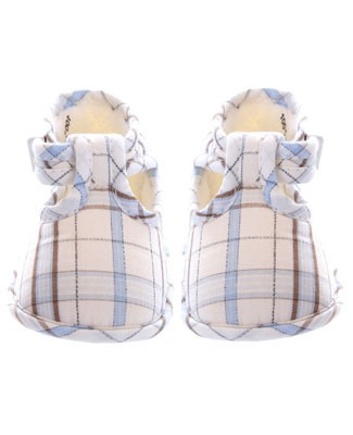 R: Galipette Blue, Brown And White Plaid Booties