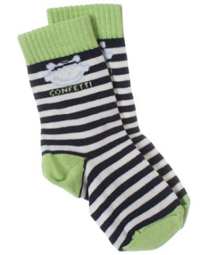 R: Confetti Black And White Striped Socks With Green