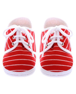R: Galipette Red And White Striped Booties