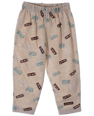 R: Miniman Khaki Pajama Pants With Green, Brown and White