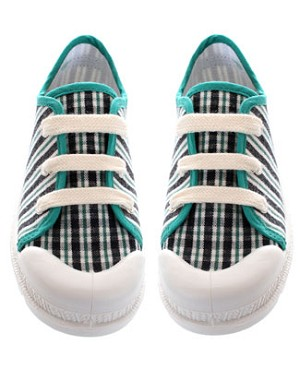 R: Miniman Green, Cream And Slate Striped Canvas Shoe