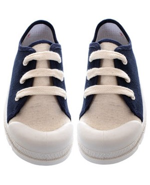 R: Miniman Navy And Cream Canvas Shoe