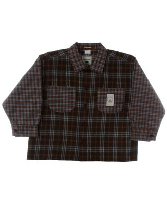 R: Miniman Brown Plaid Button Up L/S Top