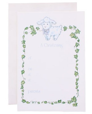 R: Christening Announcement With Lamb And Ivy