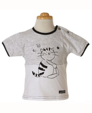 6m: Galipette Grey and White S/S Cat Tee