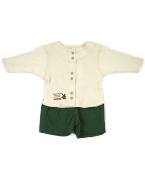 : Klim Baby's The Miller Cream Ribbed Shirt & Green Bermuda Set