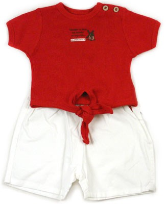 : Klim Baby's The Miller Red Tie Tee & White Bermuda Short Set