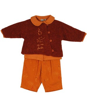 Size 6m Alphabet 3PC Burnt Orange Sweater Top and Pant Set